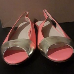 Peach and gold Sandals women size 10